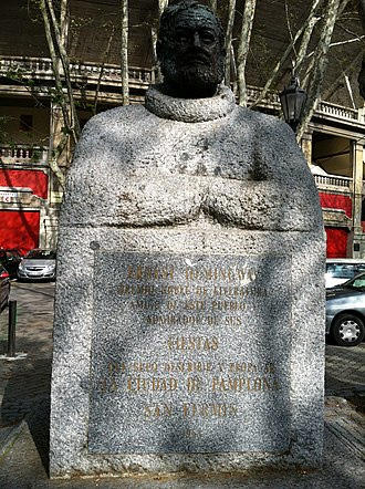San Fermín - Monument to Hemingway outside the bullring in Pamplona.