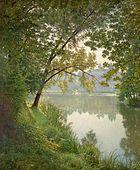 Henri BIVA, ca 1905-06, Matin à Villeneuve, Salon 1906 postcard - original painting, oil on canvas, 151.1 x 125.1 cm, private collection