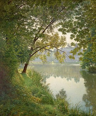 Henri Biva - Henri Biva, ca 1905-06, Matin à Villeneuve (From Waters Edge), oil on canvas, 153.7 x 127 cm (60.5 x 50 in), painted at Villeneuve l'Etang, Marnes-la-Coquette (Seine-et-Oise), France, private collection