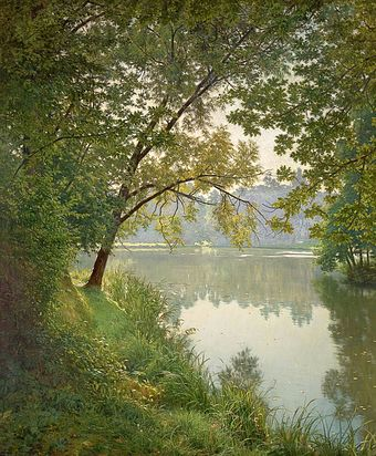 Henri Biva, c. 1905-06, Matin a Villeneuve (From Waters Edge), oil on canvas, 151.1 x 125.1 cm. Henri BIVA, ca 1905-06, Matin a Villeneuve, Salon 1906 postcard - original painting, oil on canvas, 151.1 x 125.1 cm, private collection.jpeg