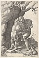 Hercules and the Nemean Lion- Hercules grasps the shoulders and chest of the lion, which is viewed from the back, beside a rocky outcrop MET DP832631.jpg