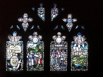 John Stanberry - John Stanbury Window, Hereford Cathedral. Showing Stanbury advising King Henry VI in the founding of Eton College.
