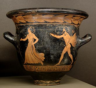 Herse (Athenian princess) - Hermes pursuing a woman, probably Herse, Lucanian red-figure bell-krater, ca. 390–380 BC, Louvre (G 494).