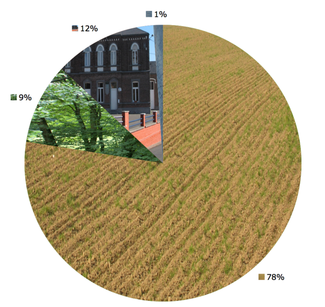 Héron (Belgium): Land use in 2004: 88 agriculture, <1% forest; 8% construction, 4% others