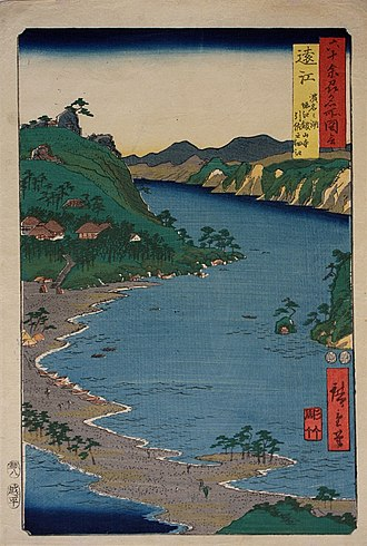 "Tōtōmi Province - Hiroshige ukiyo-e "" Tōtōmi "" in ""The Famous Scenes of the Sixty States"" (六十余州名所図会), depicting Lake Hamana and Kanzan-ji"