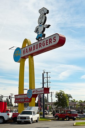 Oldest McDonald's restaurant - Image: Historic Downey Mc Donalds Hamburgers Sign