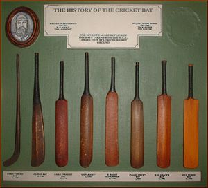 "Cricket - Evolution of the cricket bat. The original ""hockey stick"" (left) evolved into the straight bat from c.1760 when pitched delivery bowling began."