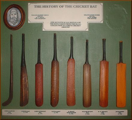 "Evolution of the cricket bat. The original ""hockey stick"" (left) evolved into the straight bat from c. 1760 when pitched delivery bowling began. Historical cricket bat art.jpg"