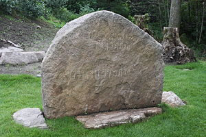 Hogganvik runestone - The stone re-established at its original location, August 2010