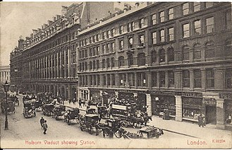 Holborn Viaduct railway station - Holborn Viaduct station and hotel in 1908
