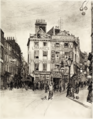 Holywell Street from St. Clement Danes church, Strand - drawing by F. L. Emanuel.png