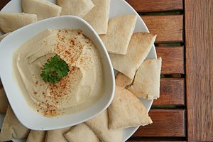 Lebanese cuisine - Hummus and pita bread