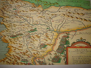 Kingdom of Croatia (Habsburg) - An old map of Croatia from the end of the 16th century (1593)