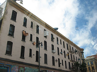Single room occupancy - An abandoned single-room hotel (Hugo Hotel) at 6th and Howard in San Francisco, California