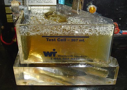 A zinc solution tested in a Hull cell Hullcell.jpg