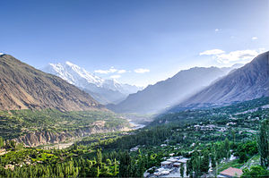 Karimabad, Pakistan - Hunza valley from Baltit Fort