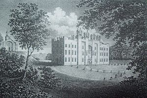 Hylton Castle - Hylton Castle and St Catherine's Chapel (on the left) – unknown artist, c. 1800