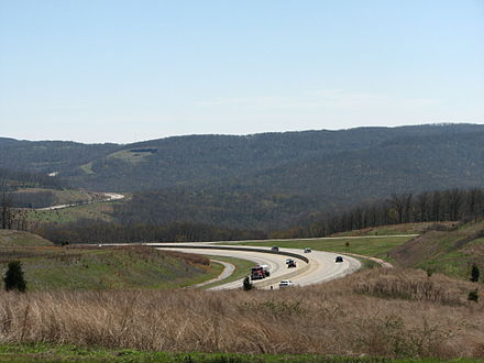 Interstate 49 enters the Boston Mountains in south Washington County I-540 near Winslow, Arkansas.jpg