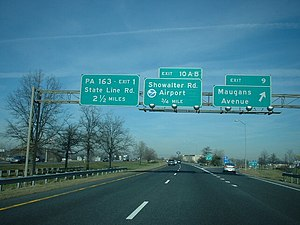 Interstate 81 in Maryland - I-81 northbound at Maugans Avenue interchange in Maugansville