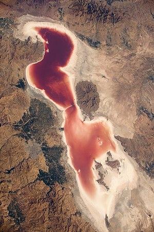 Photo of en:Lake Urmia in northwestern Iran, taken from the en:International Space Station.