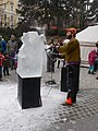 Ice sculptor at work, Hegyvidek Advent, Boszormenyi ut, 2016 Nemetvolgy.jpg