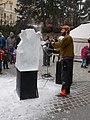 Ice sculptor at work, Hegyvidek Advent, Boszormenyi ut, 2016 Nemetvolgy.jpg