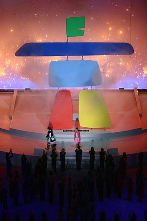 Colonialism and the Olympic Games - Unveiling ceremony of Ilanaaq the inukshuk, the 2010 Winter Games emblem, April 23, 2005