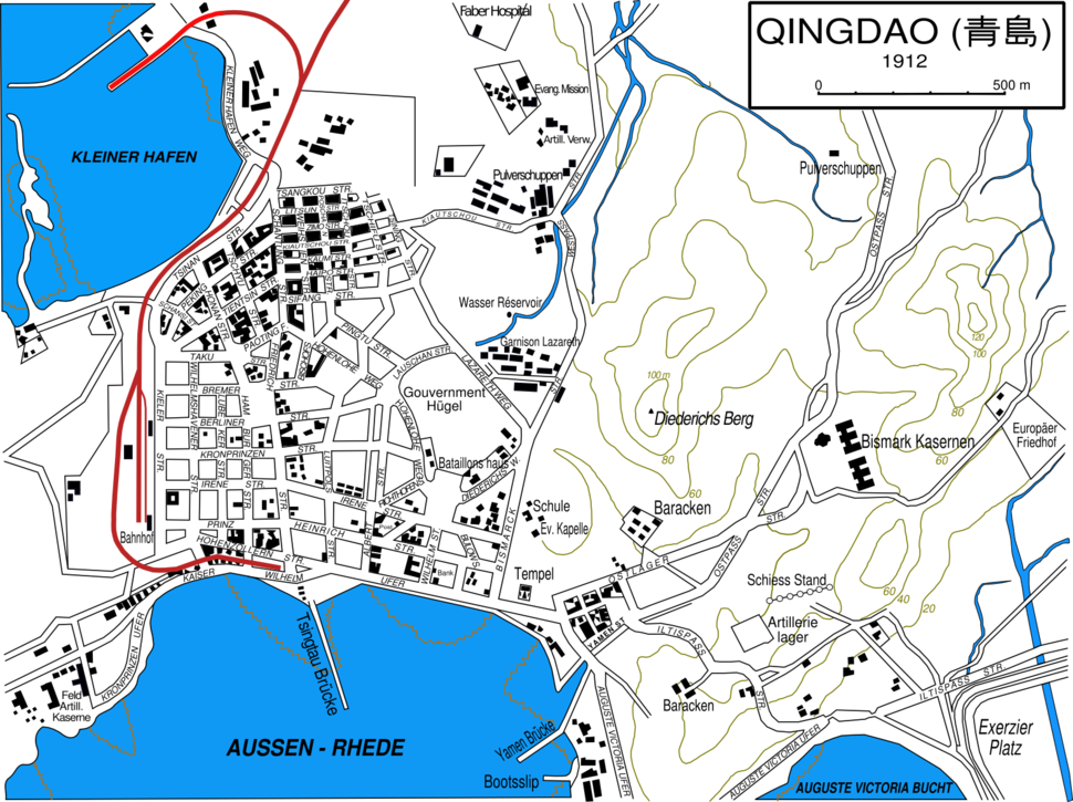 Image-Qingdao city map 1912 in german