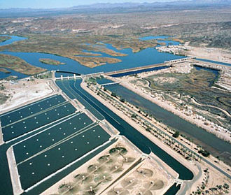 Diversion dam - The Imperial Dam diverting the Colorado River in the southwestern United States.