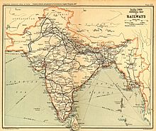 Old map of India, with rail lines