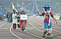 Indian players taking part in the ceremonial march pass, on the occasion of the 12th South Asian Games-2016, at Indira Gandhi Athletics Stadium, in Guwahati, Assam on February 05, 2016.jpg