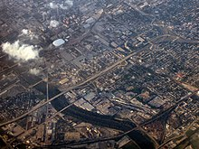 An aerial photograph of downtown Indianapolis