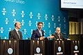 Informal meeting of economic and financial affairs ministers (ECOFIN). Eurogroup press conference Pierre Moscovici, Jeroen Dijsselbloem and Klaus Regling (37067763452).jpg