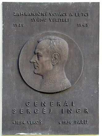 Sergej Ingr - Commemorative plaque in Vlkoš.