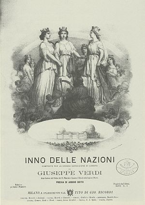 Inno delle nazioni - Cover of first edition of the vocal score of the hymn (design by Alessandro or Robert Focosi)