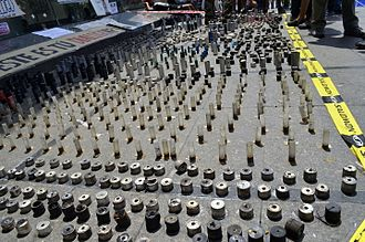 Tear gas - Numerous tear gas shells used in Venezuela in 2014
