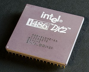 An Intel 80486DX2 CPU from above