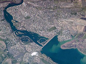 Irkutsk Hydroelectric Power Station - Irkutsk Dam and the city of Irkutsk