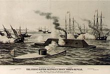 Print: First Battle of Iron Ships of War, lithograph by Henry Bill (1862)