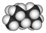 Spacefill model of 2,2,4-trimethylpentane