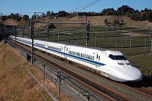 700 Series Shinkansen - A 700 series train on the Tokaido Shinkansen between Kakegawa and Shizuoka in January 2008