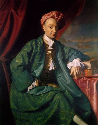 Banyan (clothing) - Ward Nicholas Boylston in a brilliant green banyan and a cap, painted by John Singleton Copley, 1767.