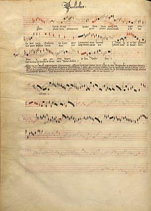 La harpe de melodie - Image: Jacob Senleches La harpe de melodie (Chantilly Codex f 43v)