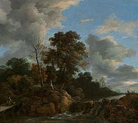 Jacob van Ruisdael - Waterfall with figures on a bridge.jpg