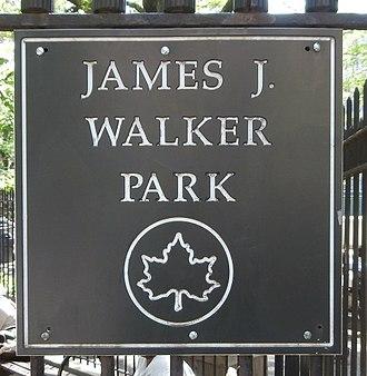 James J. Walker Park - Image: James J. Walker Park Sign