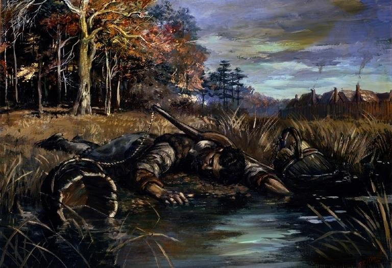 Jamestown settler dead in the swamp