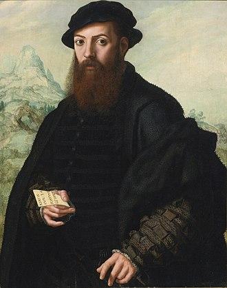 Jan Sanders van Hemessen - Portrait of a Gentleman, Aged 34, before an Extensive Landscape