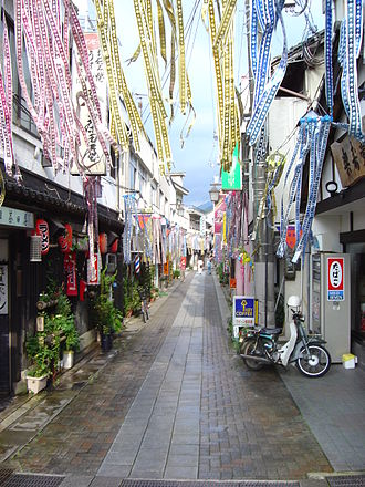 Misasa, Tottori - A street in the center of Misasa shortly before the Marie Curie festival
