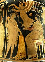 Jason returns with the golden Fleece on an Apulian red-figure calyx krater, ca. 340–330 BC
