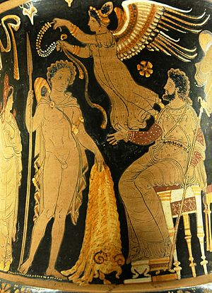 Jason - Jason bringing Pelias the Golden Fleece, Apulian red-figure calyx krater, ca. 340 BC–330 BC, Louvre